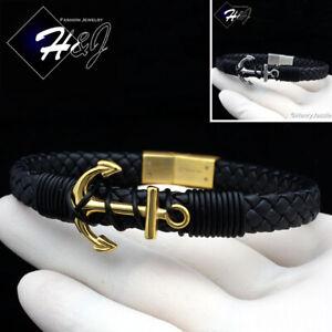 8-25-034-MEN-WOMEN-Stainless-Steel-9mm-Silver-Black-Gold-Anchor-Leather-Bracelet-B87