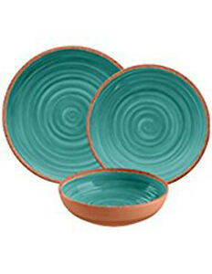 Image is loading Rustic-Swirl-12-Piece-Melamine-Dinnerware-Set-in-  sc 1 st  eBay & Rustic Swirl 12 Piece Melamine Dinnerware Set in Turquoise by ...