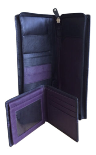 Mens 100/% Leather Black Slim Bifold Wallet /& Travel Document Holder for Passport