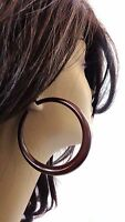 Large Brown Hoop Earrings Old School Hoop Earrings 2.5 Inch Acrylic Hoops