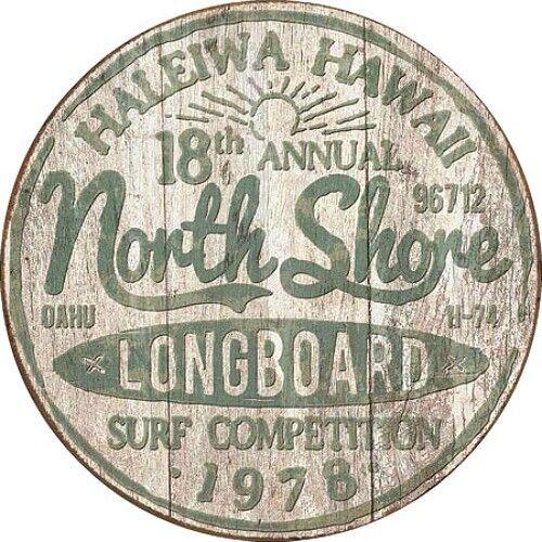 "North Shore Surf Competition 12"" Round Tin Sign Nostalgic Metal Sign Retro Decor"
