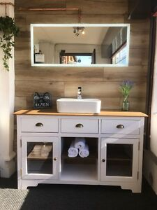 Vintage Shabby Chic Farmhouse Single Double Vanity Unit With Basins