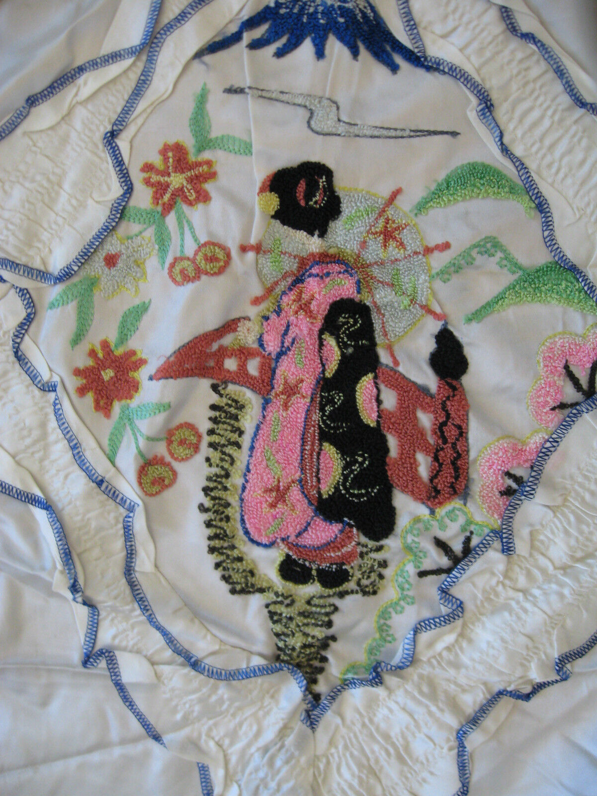 1940's, WWII Era Japanese Embroiderosso, Coverlet, Pillow Shams Geisha Image
