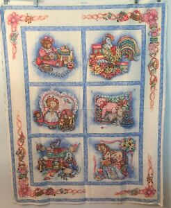 Vintage-Baby-Fabric-Country-Toys-Cheater-Quilt-Top-Panel-Animals-Blue-Springs
