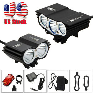 12000-Lumen-8-4V-Rechargeable-Cycling-Light-Bicycle-Bike-LED-Front-Rear-Lamp-Set
