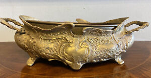 Antique Vintage Brass Rococo Jardiniere Planter Flower Box