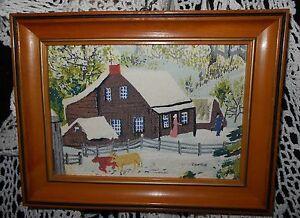 Vintage 1950's Grandma Moses Bark Cloth OLD FARM HOUSE Americana Wall Picture