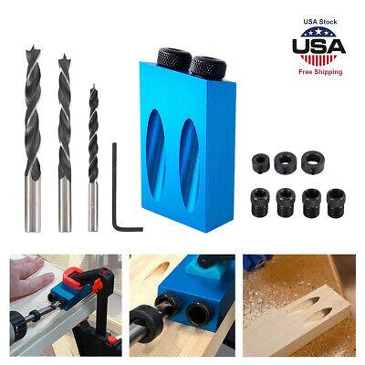 15° Carpenter Wood Joint Tools DIY Pocket Inclined Hole Jig Kit,Dwel Drill Set