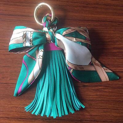Fashion Women Velvet Leather Tassel Keychain Bag Ribbon Pendant Car Key Chain