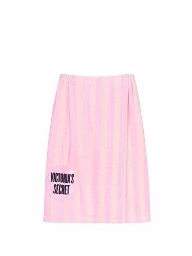 VICTORIA/'S SECRET PINK WHITE SIGNATURE STRIPE BODY BATH WRAP TOWEL ROBE NEW NWT