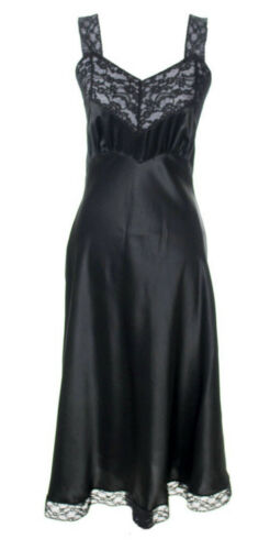 Black 100% Silk Slip Dress 1940s Vintage Heavenly