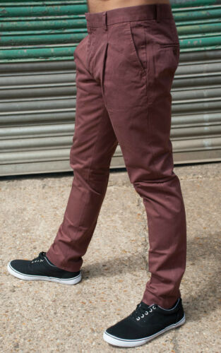 MENS 60/'s 70/'s INDIE RETRO MOD VINTAGE SKINNY PLEATED CHINO PANTS SIZES 28-36