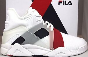 Details about Mens Fila THE CAGE 17 Retro Performance Basketball Shoes  White Canvas Navy Red