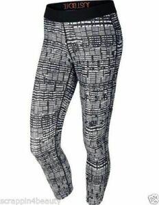 Nike Womens Black White Leggings Tight Running Yoga Crop Pants 627075 010 Med Ebay