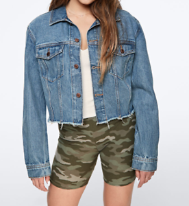 Victoria-Secret-PINK-Denim-Jacket-Womens-XS-to-Large-New-Blue-Cropped-Length