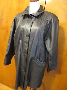 Pelle-New-York-Milano-Women-039-s-Black-Real-Genuine-Leather-Jacket-Coat-Medium