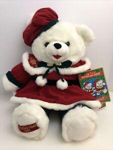 "Snowflake Teddy 1995 Girl Christmas Plush 20"" Stuffed Bear DanDee Storybook Tags"