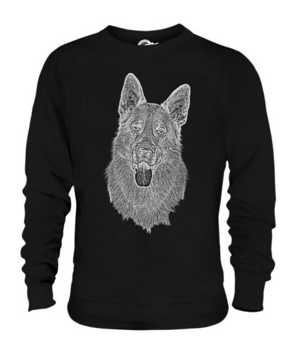GERMAN SHEPHERD SKETCH UNISEX PRINTED SWEATER TOP GREAT GIFT DOG LOVER ALSATION