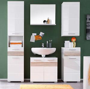 Details zu Badmöbel Set weiß Hochglanz und Eiche Sonoma Badezimmer Möbelset  5-teilig Mezzo