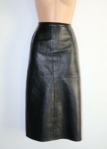 Women-039-s-Vintage-C-amp-A-High-Waist-Straight-Wiggle-Black-100-Leather-Skirt-UK14-W34