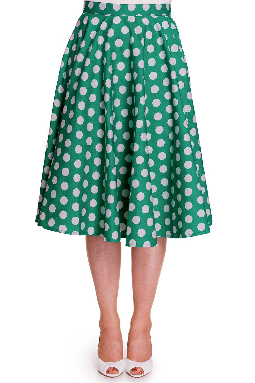 Hell Bunny 50's Dots Green White Polka Dot Mariam Circle Swing Skirt