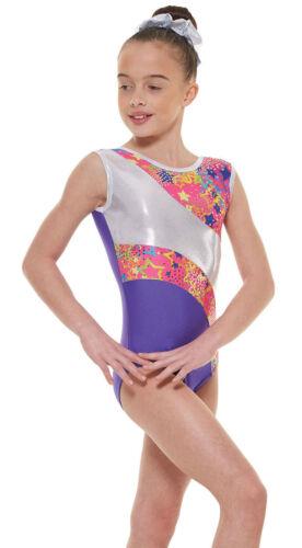 Nylon//brillant feuille filles gymnastique sans manches justaucorps gym vêtements de danse 4-12 ans