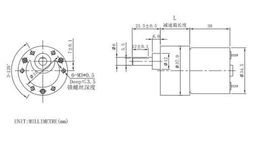 Dia 37mm Gear Motor DC 12V 14 30 40 50 90 rpm for Output Shaft 6mm for DIY Hobby