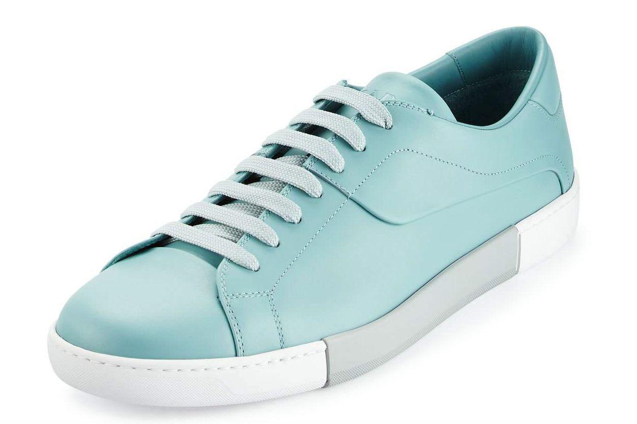 Prada Blue 7212 Leather Low Top Tennis Sneaker Sz 9 UK