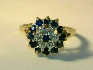 2-CT-Blue-Sapphire-amp-Diamond-Cluster-Flower-Engagement-Ring-14K-Yellow-Gold-Over