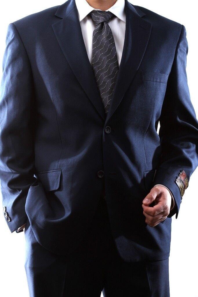 Herren SINGLE BREASTED 2 BUTTON NAVY DRESS SUIT SIZE 40L, PL-60212N-203-NAV