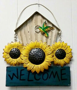 WELCOME-Plaque-Porch-Patio-Sign-Home-Decoration-Sunflower-Bird-12-034-by-13-034