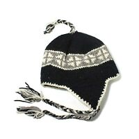 Nepal Hat Beanie Ski Chullo Cap Earflaps 100% Wool Winter One Size Fit Unisex