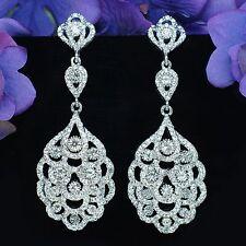 RHODIUM PLATED Clear Crystal Rhinestone Bridal Chandelier Ear-nail Earrings