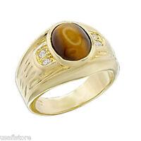 Mens Genuine Tiger Eye 18kt Gold Plated Ring