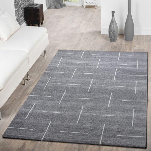 Moderner Wohnzimmer Teppich Hochwertig Schlichtes Muster Meliert In Grau Weiß