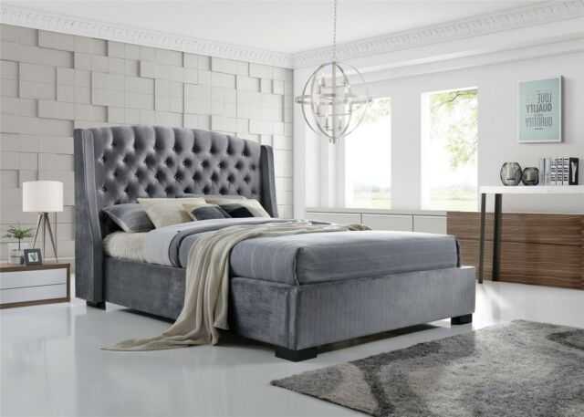 Brando Wing Back Chesterfield King Size Bed Frame 5ft 150cm Grey ...