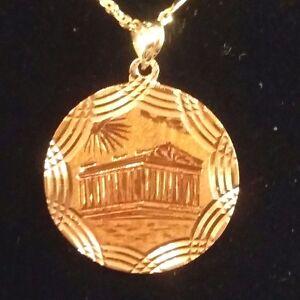 Estate-14k-Yellow-Gold-Greek-The-Parthenon-Temple-Round-Fancy-Frame-Pendant