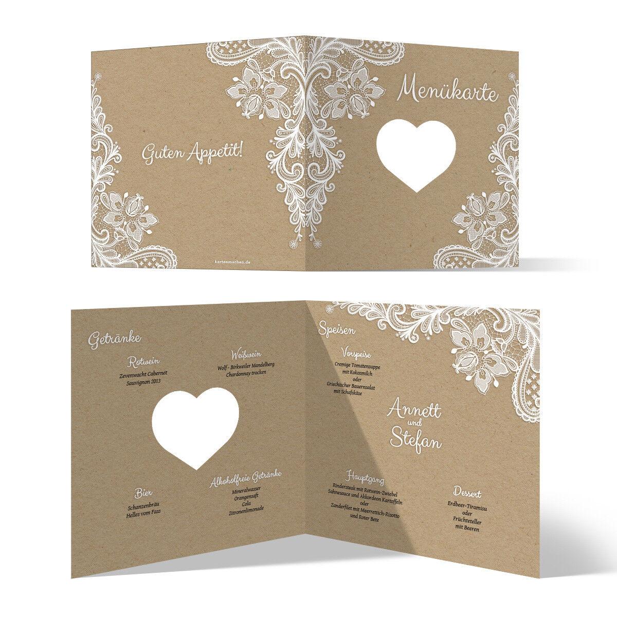 Lasergeschnittene Hochzeit Menükarten Speisen Getränkekarte Rustikal Kraftpapier | Outlet Online  | Angenehmes Gefühl