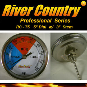 """5"""" RCT5 BBQ CHARCOAL GAS ELECTRIC GRILL SMOKER PIT THERMOMETER 3"""" STEM 50-550"""