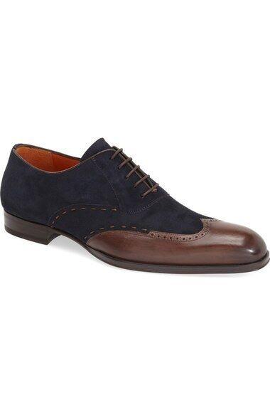 Hecho A Mano Para Hombre azul Suede & Marrón Cuero Brogue Oxford Zapatos de boda de extremo de ala