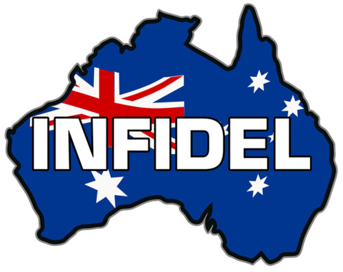 VINYL DECAL AUSTRALIAN MAP INFIDEL  Size apr 100mm by 80mm MADE IN AUSTRALIA