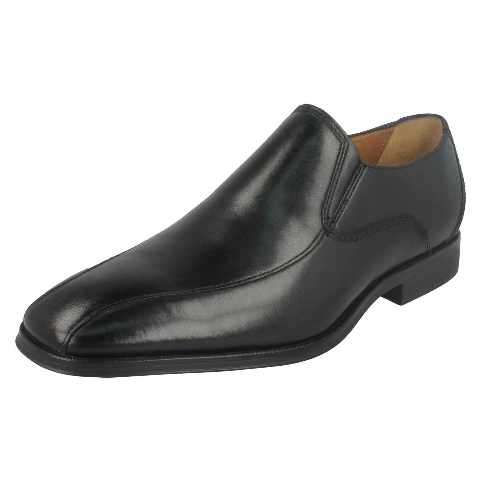 Herren Clarks Gilman Slipper Schwarzes Leder Elegant Slip On Schuhe G Passform