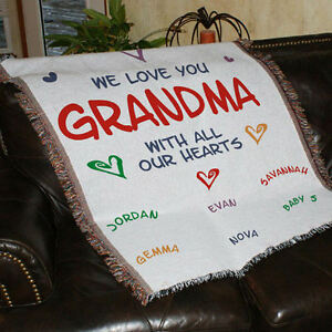personalized we love you tapestry throw blanket for grandma mom