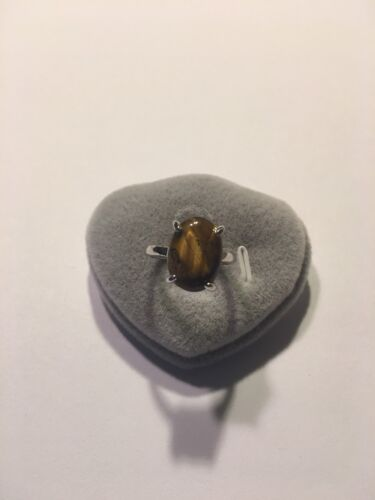 STERLING SILVER PLATED TIGER-EYE RINGS FOR SIZES SEE BELOW--R991