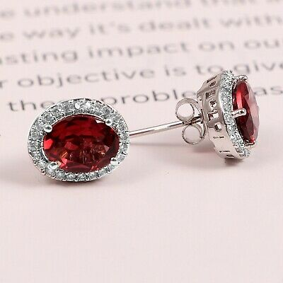 GARNET Studs  Oval 925 Sterling Silver Earrings 100/% natural small