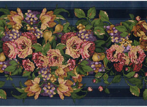 Victorian Roses Grape English Floral Flower Navy Blue