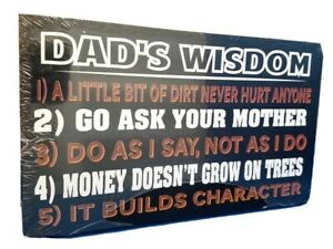 Home Decor Plaque Sign - Dad's Wisdom Rules - Wooden SALE