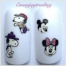 Nail Art decals/stickers / transferencias Brillo Minnie, Mickey Mouse, Snoopy # 152