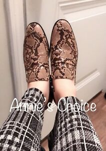 ZARA Women's Animal Print Loafers(Snake