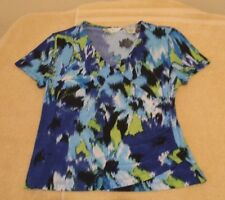 Laura Ashley Sz PS Blue Green Black Abstract Knit Top, short sleeves, crossover
